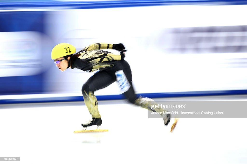 <a gi-track='captionPersonalityLinkClicked' href=/galleries/search?phrase=Yui+Sakai&family=editorial&specificpeople=6521438 ng-click='$event.stopPropagation()'>Yui Sakai</a> of Japan competes in the Women's 1000m (2) semi-finals on day two of the ISU World Cup Short Track Speed Skating on February 15, 2015 in Erzurum, Turkey.
