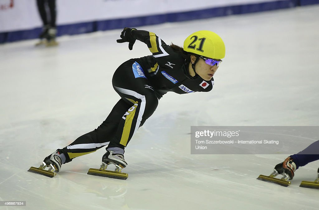 <a gi-track='captionPersonalityLinkClicked' href=/galleries/search?phrase=Yui+Sakai&family=editorial&specificpeople=6521438 ng-click='$event.stopPropagation()'>Yui Sakai</a> of Japan competes on Day 2 of the ISU World Cup Short Track Speed Skating competition at MasterCard Centre on November 8, 2015 in Toronto, Ontario, Canada.