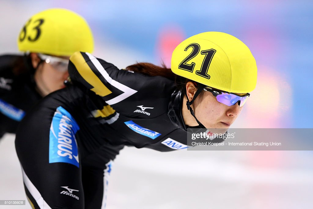<a gi-track='captionPersonalityLinkClicked' href=/galleries/search?phrase=Yui+Sakai&family=editorial&specificpeople=6521438 ng-click='$event.stopPropagation()'>Yui Sakai</a> of Japan during the ladies 1500m semifinals heat three during Day 2 of ISU Short Track World Cup at Sportboulevard on February 13, 2016 in Dordrecht, Netherlands.