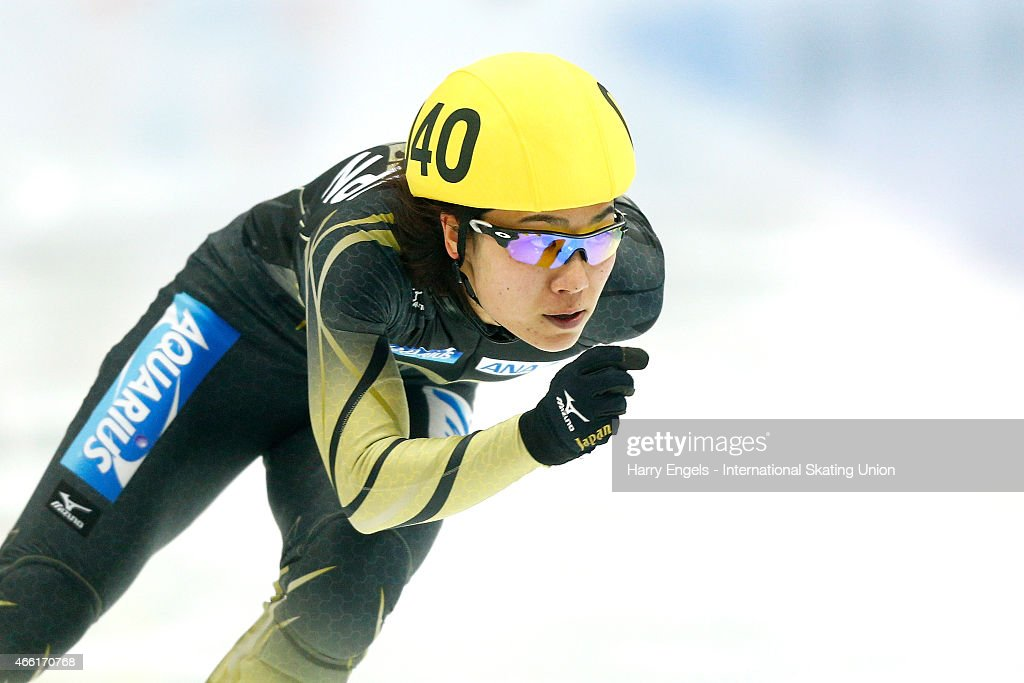 <a gi-track='captionPersonalityLinkClicked' href=/galleries/search?phrase=Yui+Sakai&family=editorial&specificpeople=6521438 ng-click='$event.stopPropagation()'>Yui Sakai</a> of Japan in action during the Ladies' 500m RR-Heats on day two of the ISU World Short Track Speed Skating Championships at the Krylatskoe Speed Skating Centre on March 14, 2015 in Moscow, Russia.