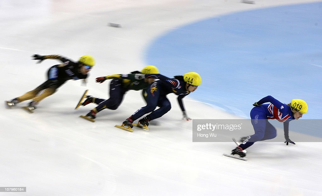 Yui Sakai of Japan, Julie Jung of Australia, Seung-Hi Park of Korea, Elise Christie of Great Britain compete in the Women's 1000m Quarter final during the day one of the ISU World Cup Short Track at the Oriental Sports Center on December 8, 2012 in Shanghai, China.