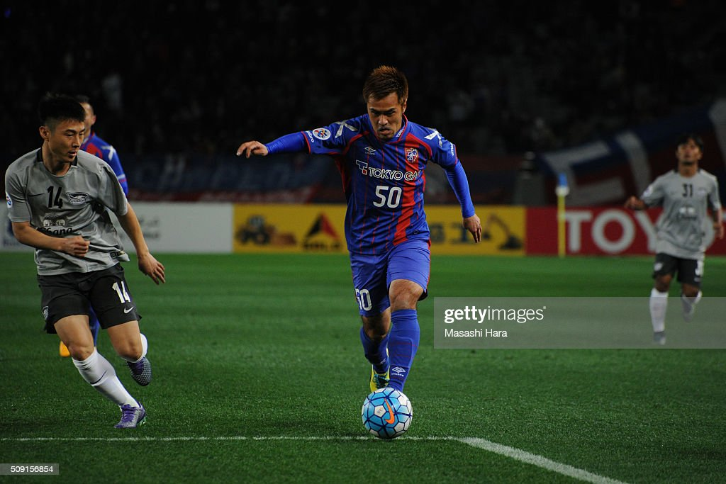 <a gi-track='captionPersonalityLinkClicked' href=/galleries/search?phrase=Yuichi+Komano&family=editorial&specificpeople=560530 ng-click='$event.stopPropagation()'>Yuichi Komano</a> #50 of FC Tokyo in action during the AFC Champions League playoff round match between FC Tokyo and Chonburi FC at the Tokyo Stadium on February 9, 2016 in Chofu, Japan.