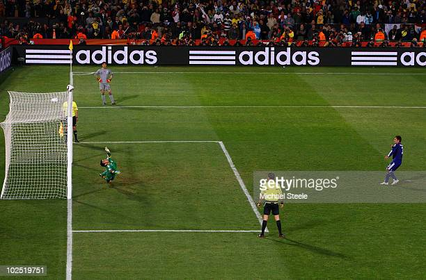 Yuichi Komano of Japan hits his penalty kick onto the crossbar during a shootout which Japan finally loses in the 2010 FIFA World Cup South Africa...