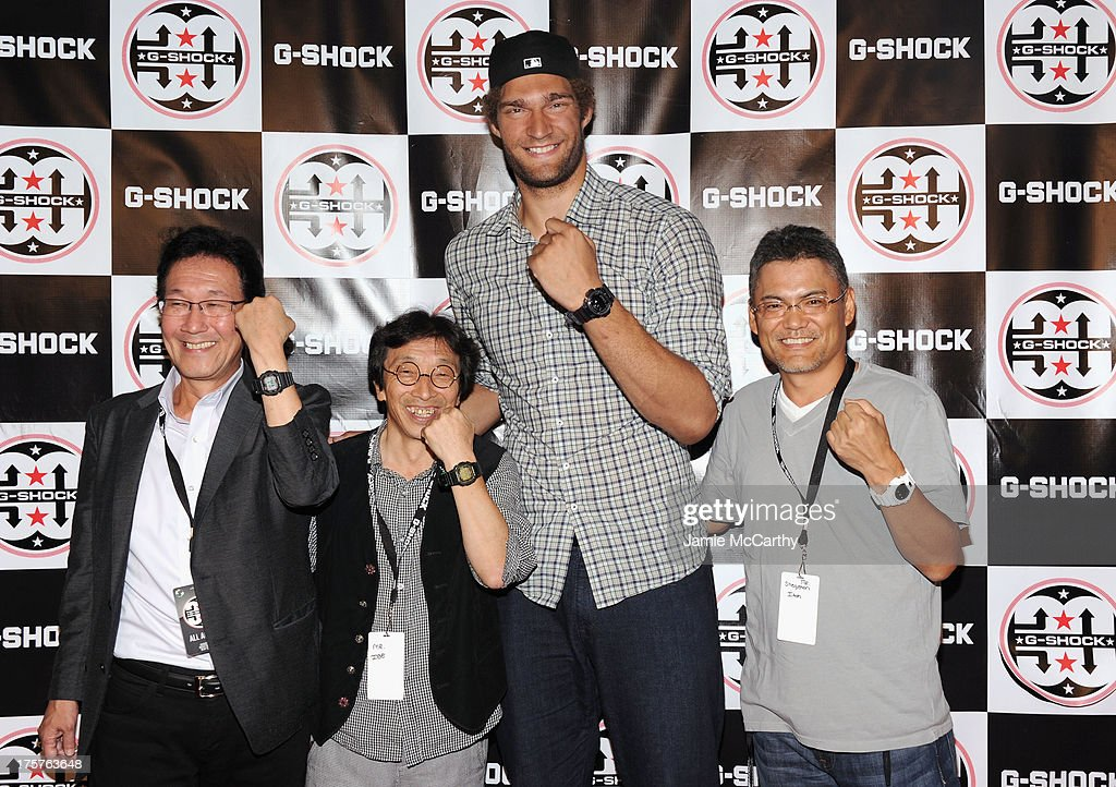 Yuichi Masuda, Kikuo Ibe, <a gi-track='captionPersonalityLinkClicked' href=/galleries/search?phrase=Brook+Lopez&family=editorial&specificpeople=3847328 ng-click='$event.stopPropagation()'>Brook Lopez</a> and Shigenori Itoh attend G-Shock Shock The World 2013 at Basketball City on August 7, 2013 in New York City.