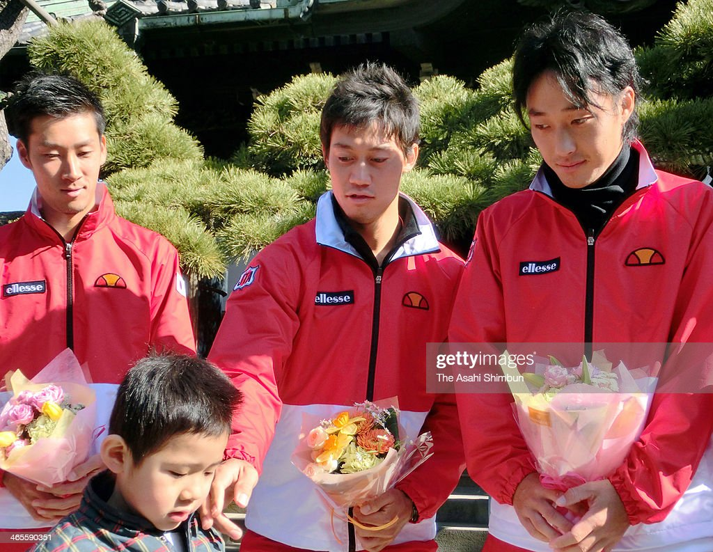 Yuichi Sugita, Kei Nishikori and Go Soeda of the Davis Cup Japan team visit the Shibamata Taishakuten Temple in hope of the victory against their first round against Canada on January 27, 2014 in Tokyo, Japan.