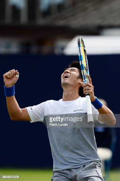 Yuichi Sugita of Japan celebrate after victory the final match against Jordan Thompson of Australia during the Aegon Surbiton Trophy tennis event on...