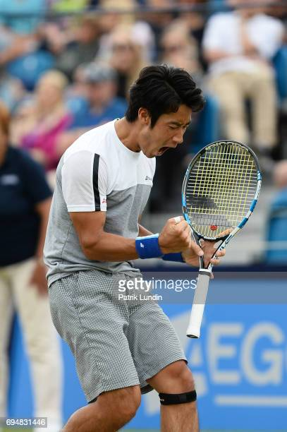 Yuichi Sugita of Japan celebrate during the final match against Jordan Thompson of Australia during the Aegon Surbiton Trophy tennis event on June 11...