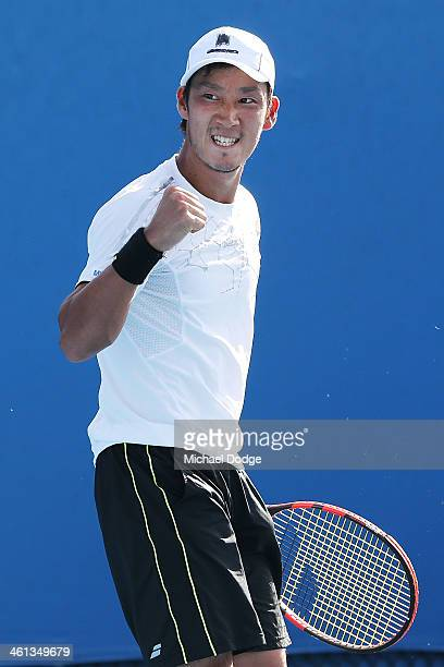 Yuichi Sugita of Japan celebrates a point in his match against Yasutaka Uchiyama of Japan during qualifying for the 2014 Australian Open at Melbourne...