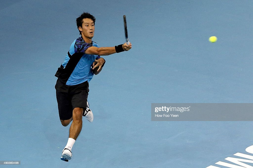 Yuichi Sugita of Japan competes against Matteo Donati of Italy during the 2015 ATP Malaysian Open at Bukit Jalil National Stadium on September 28, 2015 in Kuala Lumpur, Malaysia.