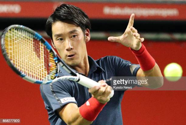 Yuichi Sugita of Japan faces off against Adrian Mannarino of France during a Japan Open quarterfinal in Tokyo on Oct 6 2017 Mannarino won 62 64...