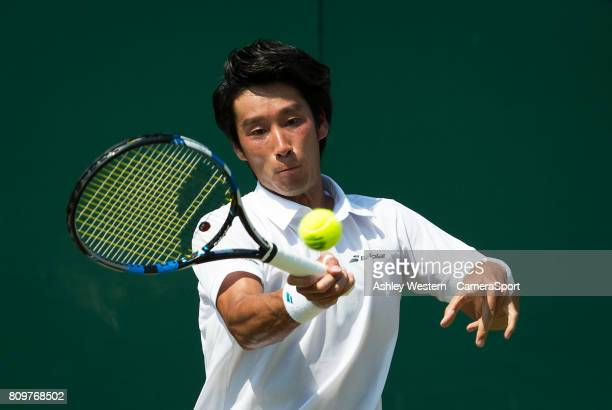 Yuichi Sugita of Japan in action against Adrian Mannarino of France in their Men's Singles Second Round Match at Wimbledon on July 6 2017 in London...