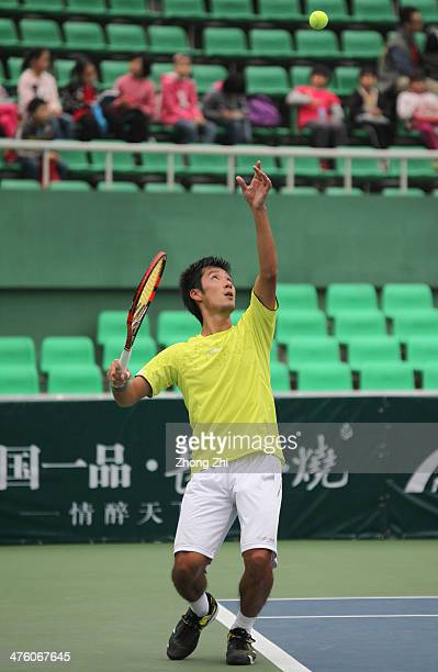 Yuichi Sugita of Japan in action during his final match against Blaz Rola of Slovenija on the ATP Challenger Guangzhou Tour at Guangzhou Development...