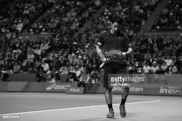 Yuichi Sugita of Japan looks dejected in his quarterfinal match against Adrian Mannarino of France during day five of the Rakuten Open at Ariake...