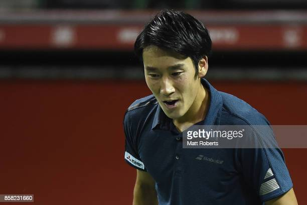 Yuichi Sugita of Japan reacts in his quarterfinal match against Adrian Mannarino of France during day five of the Rakuten Open at Ariake Coliseum on...