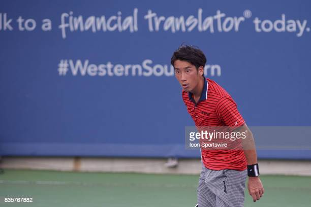 Yuichi Sugita of Japan reacts to a line call during a match in the Western Southern Open at the Lindner Family Tennis Center in Cincinnati OH