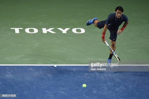 Yuichi Sugita of Japan serves in his quarterfinal match against Adrian Mannarino of France during day five of the Rakuten Open at Ariake Coliseum on...