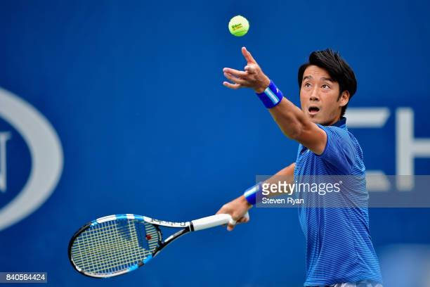 Yuichi Sugita of Japan serves to Geoffrey Blancaneaux of France on Day Two of the 2017 US Open at the USTA Billie Jean King National Tennis Center on...