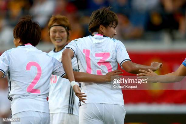 Yuika Sugasawa of Japan celebrates the first goal with her team mates during the Women's International Friendly match between Belgium and Japan at...
