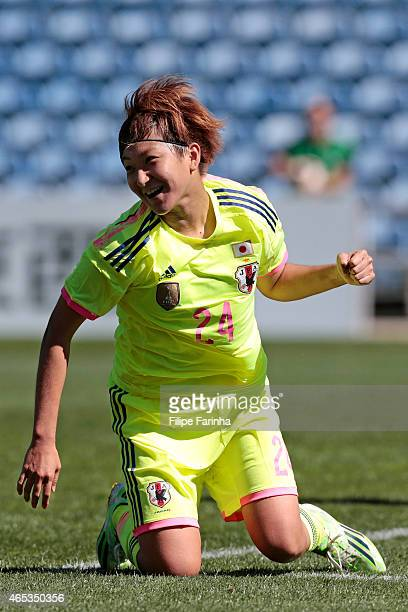 Yuika Sugasawa of Japan celebrates the third goal during the Women's Algarve Cup match between Japan and Portugal on March 6 2015 in Faro Portugal