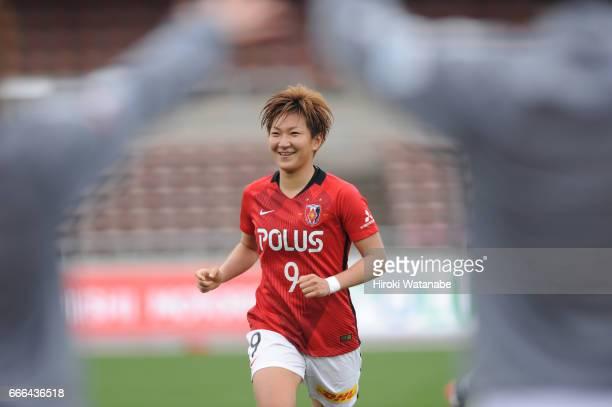 Yuika Sugasawa of Urawa Red Diamonds Ladies celebrates scoring her team`s scoring first goal during the Nadeshiko League Cup Group B match between...