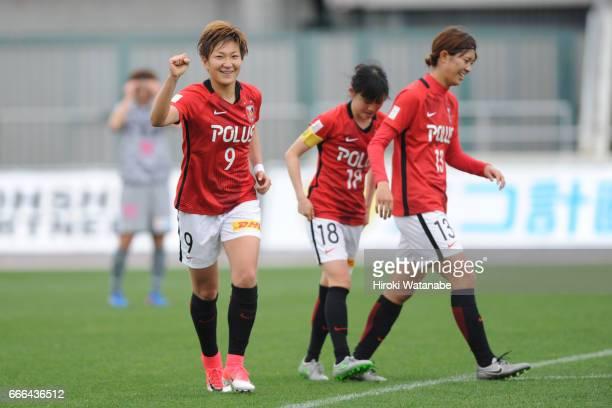 Yuika Sugasawa of Urawa Red Diamonds Ladies scoring her team`s scoring first goal during the Nadeshiko League Cup Group B match between Urawa Red...