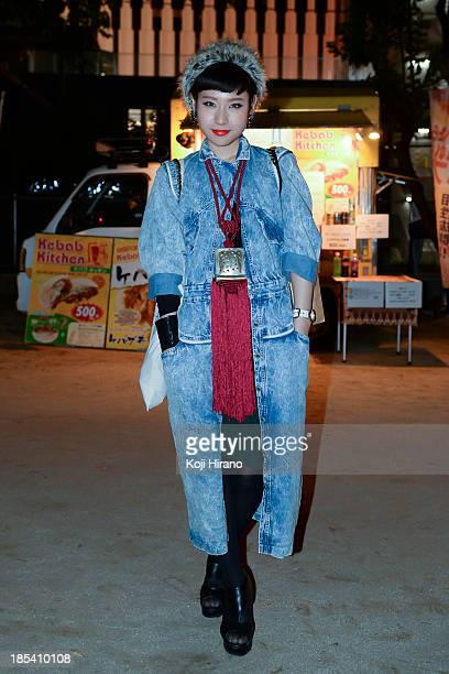 Yuiko Fujimoto wears all vintage at MercedesBenz Fashion Week Tokyo Spring/Summer 2014 at the Miyashita Park on October 19 2013 in Tokyo Japan