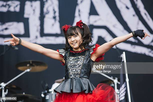 Yuimetal of Babymetal performs on the main stage during day 3 of Leeds Festival at Bramham Park on August 30 2015 in Leeds England