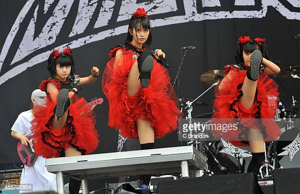 Yuimetal Sumetal and Moametal of Baby Metal performs on stage during the 2nd Day of the Reading Festival at Richfield Avenue on August 29 2015 in...
