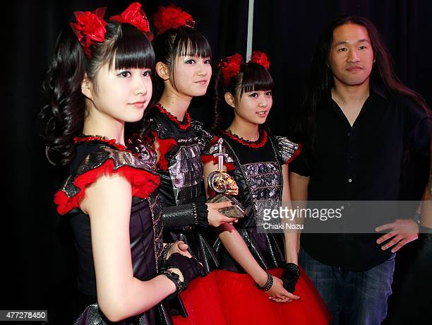 Yuimetal Sumetal and Moametal of Babymetal and Herman Li of Dragonforce attend the Metal Hammer Golden Gods awards on June 15 2015 in London England