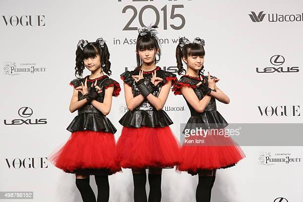 Yuimetal Sumetal and Moametal of Babymetal attends the VOGUE JAPAN Women of the Year at the Meguro Gajoen on November 26 2015 in Tokyo Japan