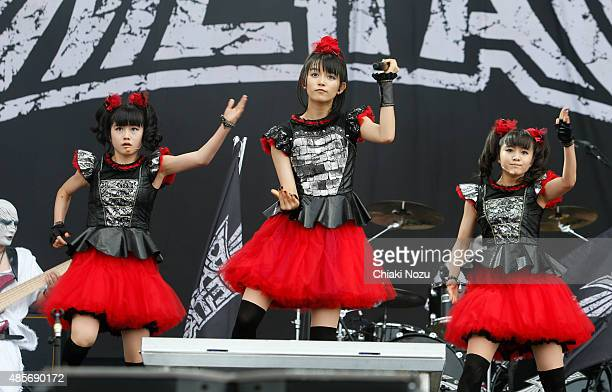 Yuimetal Sumetal and Moametal of Babymetal perform on Day 2 of the Reading Festival at Richfield Avenue on August 29 2015 in Reading England