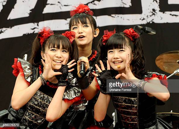 Yuimetal Sumetal and Moametal of Babymetal perform on day 3 of The Leeds Festival at Bramham Park on August 30 2015 in Leeds England
