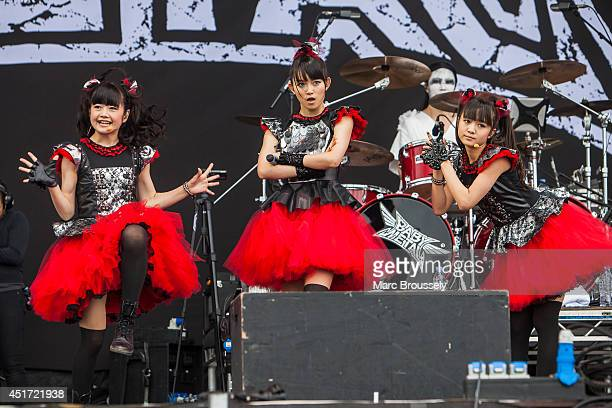 Yuimetal Sumetal and Moametal of Babymetal perform on stage at Sonisphere at Knebworth Park on July 5 2014 in Knebworth United Kingdom