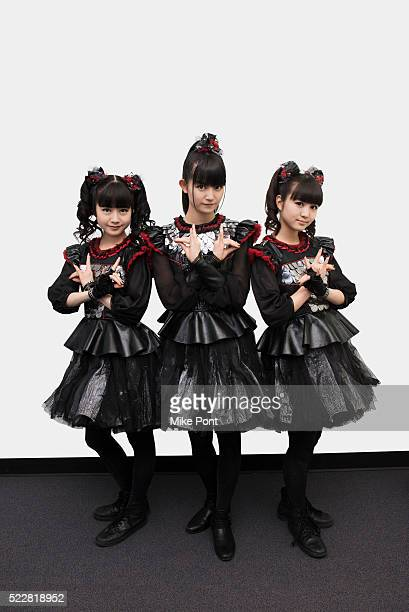 Yuimetal Sumetal and Moametal of the band Babymetal pose for a portrait at Music Choice on April 4 2016 in New York City