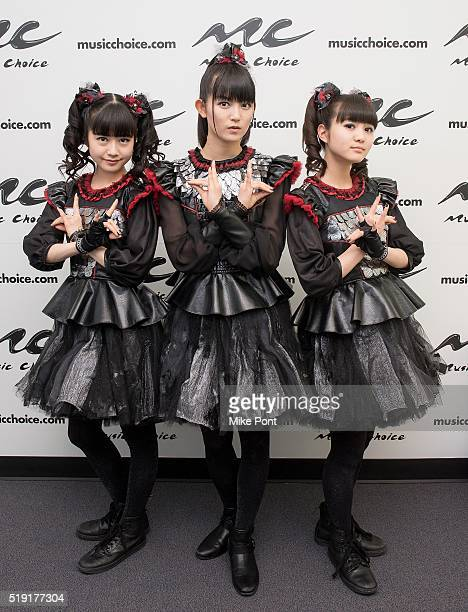 Yuimetal Sumetal and Moametal of the band Babymetal Visit Music Choice on April 4 2016 in New York City