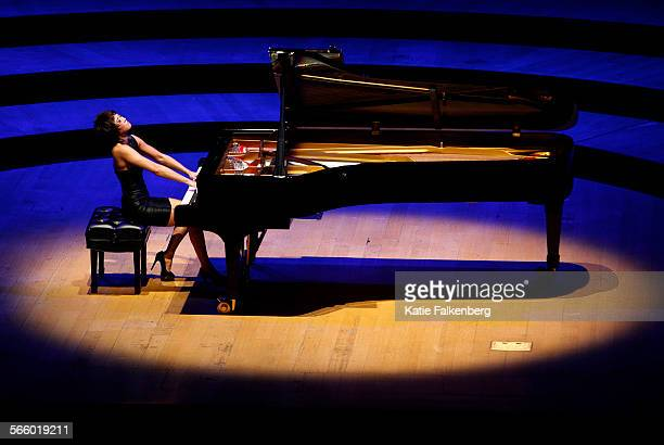 Yuja Wang performs during her first recital at the Walt Disney Concert Hall During the recital Wang concentrated on Russian and French repertory with...