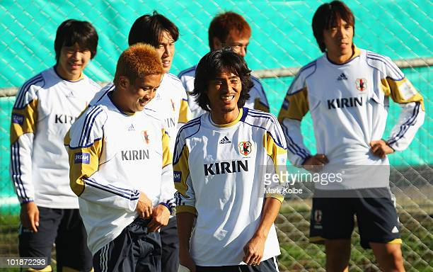 Yuji Nakazawa laughs during a Japan training session at Outeniqua Stadium on June 8 2010 in George South Africa