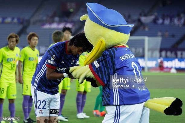 Yuji Nakazawa of Yokohama FMarinos attends a ceremony marking his 140 consecutive full appearance in the JLeague J1 games prior to the JLeague J1...