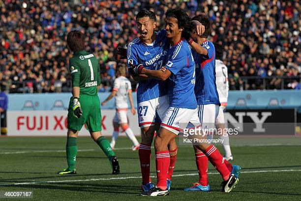 Yuji Nakazawa of Yokohama FMarinos celebrates scoring his team's second goal with his team mate Seitaro Tomisawa during the 93rd Emperor's Cup final...