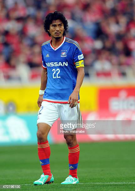 Yuji Nakazawa of Yokohama FMarinos in action during the JLeague match between Urawa Red Diamonds and Yokohama FMarinos at Saitama Stadium on April 18...