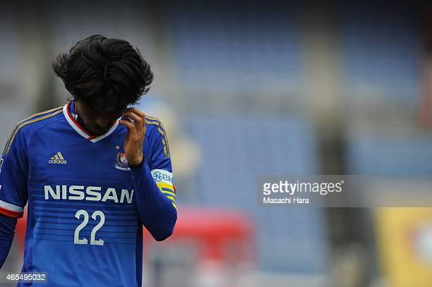 Yuji Nakazawa of Yokohama FMarinos looks on during the J League match between Yokohama F Marinos and Kawasaki Frontale at Nissan Stadium on March 7...
