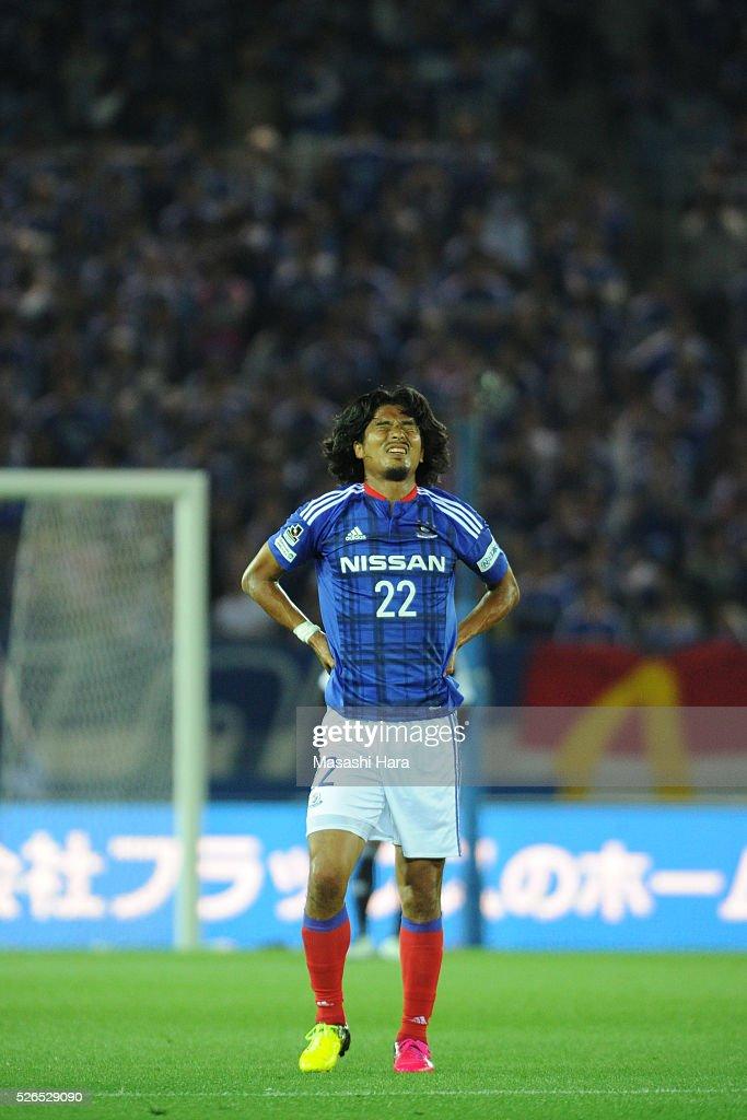 Yuji Nakazawa #22 of Yokohama F.Marinos looks on during the J.League match between Yokohama F.Marinos and Shonan Bellmare at the Nissan stadium on April 30, 2016 in Yokohama, Kanagawa, Japan.