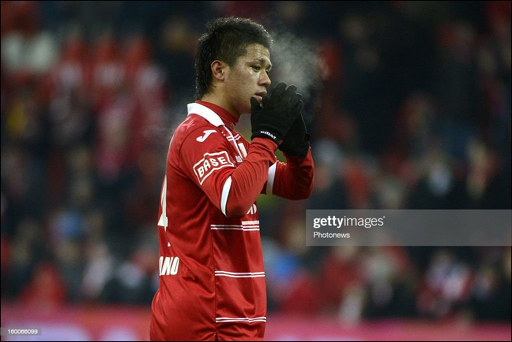 Yuji Ono celebrates during the Jupiler League match between Standard de Liege and KV Kortrijk on January 25 2013 in Liege Belgium