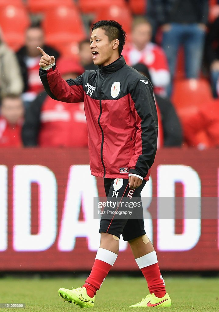Yuji Ono of Liege looks on during the Belgium Jupilar League match between Standard de Liege and Westerlo at Stade Maurice Dufrasne on August 23 2014...