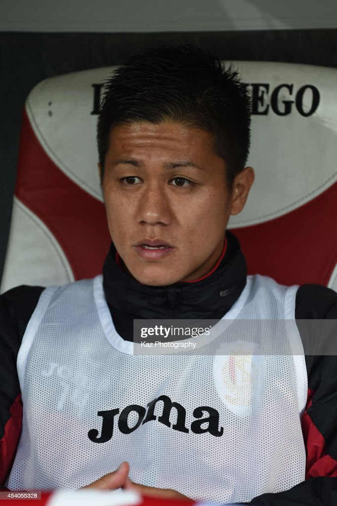 Yuji Ono of Liege looks on the bench during the Belgium Jupilar League match between Standard de Liege and Westerlo at Stade Maurice Dufrasne on...