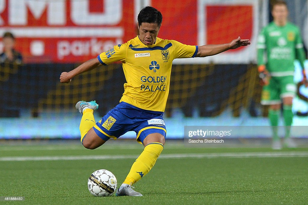 Yuji Ono of SintTruiden plays the ball during the Jupiler league match between SintTruiden VV and Club Brugge at Stayen on July 24 2015 in St Truiden...