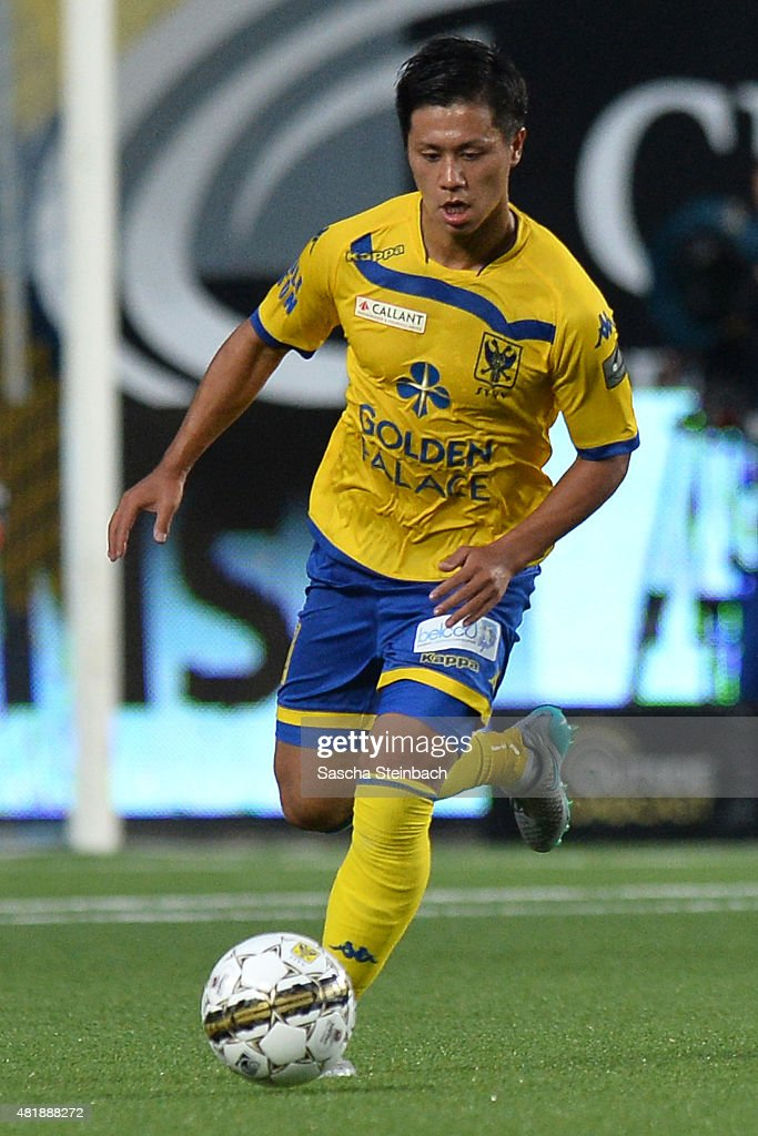 Yuji Ono of SintTruiden runs with the ball during the Jupiler league match between SintTruiden VV and Club Brugge at Stayen on July 24 2015 in St...