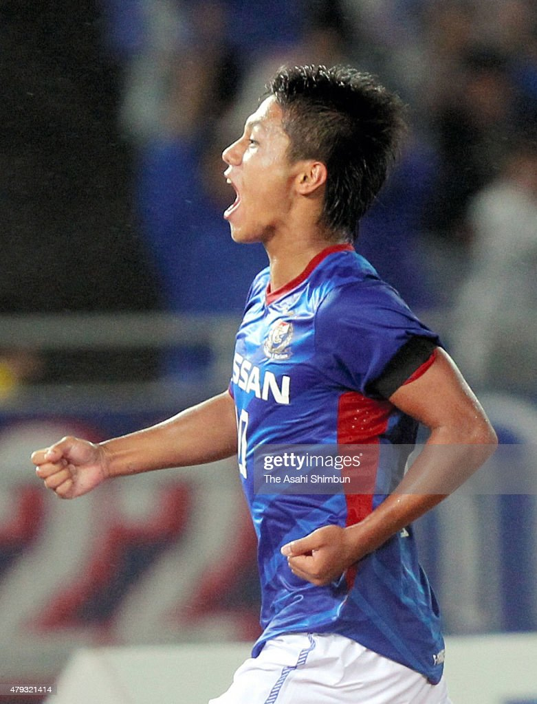 Yuji Ono of Yokohama FMarinos celebrates scoring his team's first goal during the JLeague match between Yokohama FMarinos and Jubilo Iwata at Nissan...