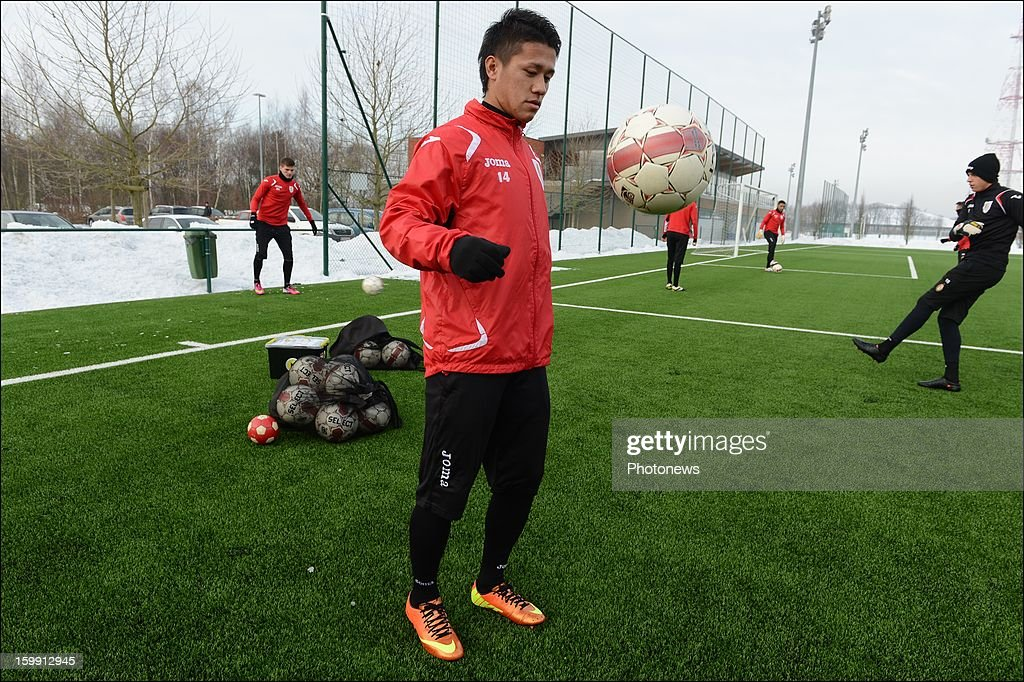 Yuji Ono pictured during his first training session as new player of Standard Liege on January 22, 2013 in Liege, Belgium.