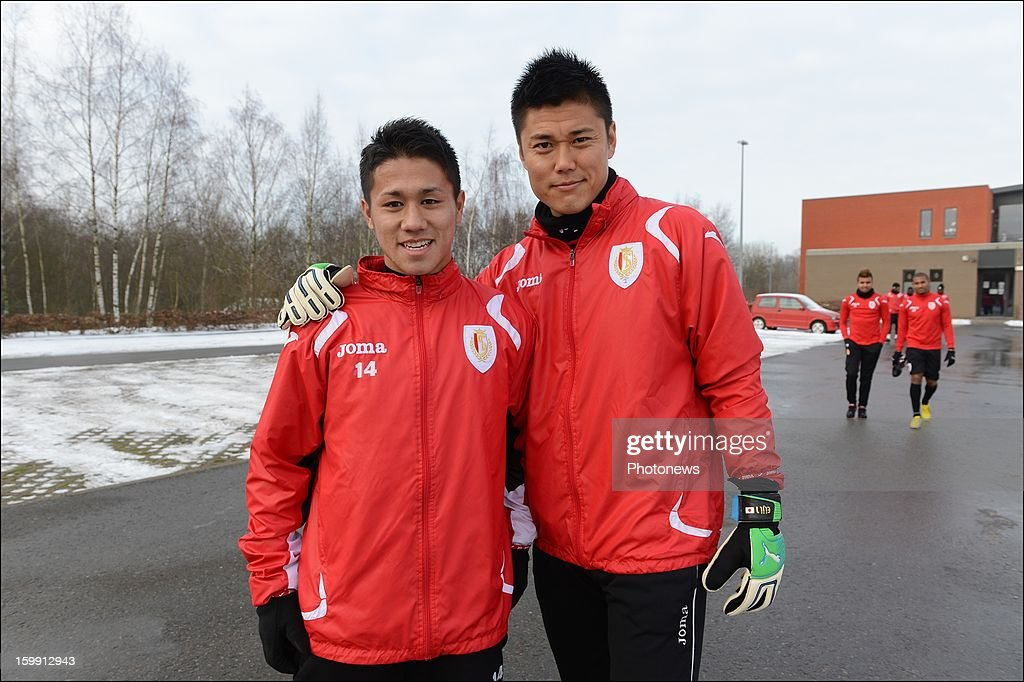 Yuji Ono with Eiji Kawashima pictured during his first training session as new player of Standard Liege on January 22 2013 in Liege Belgium